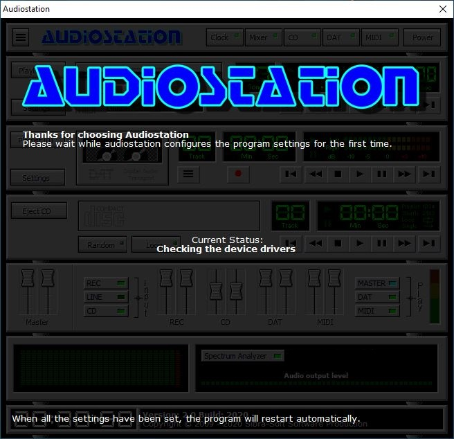 audiostation init screen